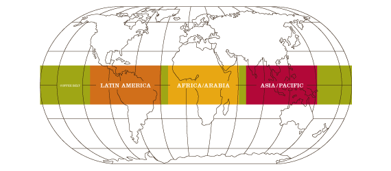 World map highlighting coffee growing regions