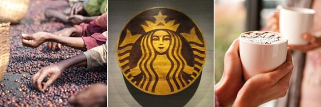 Three Images, People Picking Coffee Beans, Starbucks Logo and Person Holding Coffee Cup With Two Hands